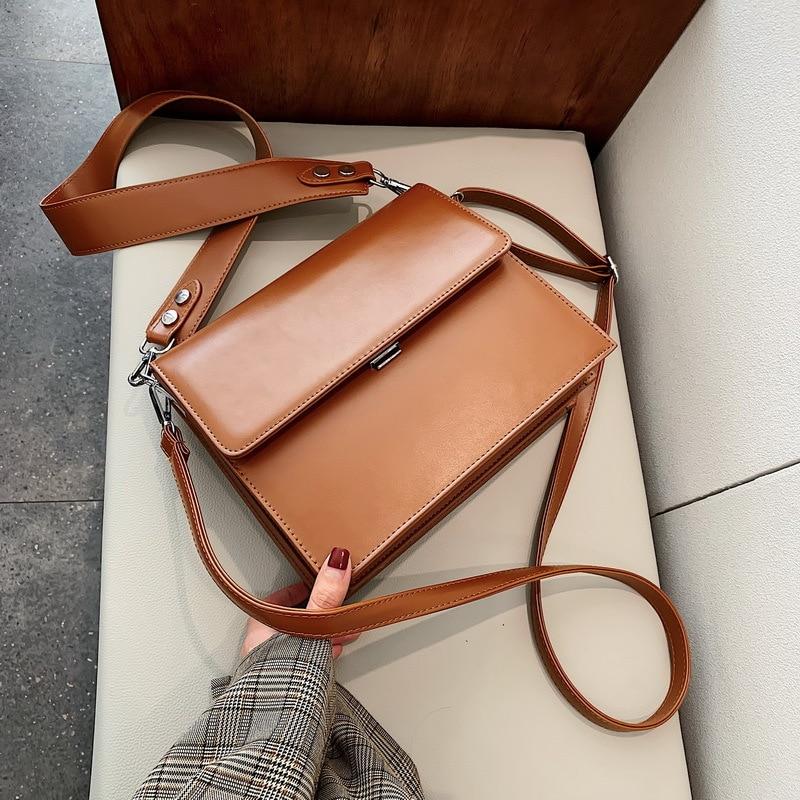 Simple Wide Strap Bags For Women Crossbody Bags Totes Bag Designer Bag Famous Brand Women Bags Clutch Purse Lady Handbags 2019