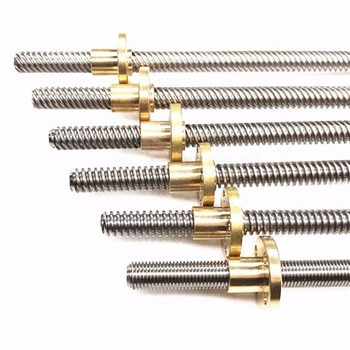 T8 Lead Screw for RepRap 3D Printers Parts Trapezoidal Screw Copper Nuts Leadscrew Part Length 250mm 300mm 350mm 400mm 500mm image