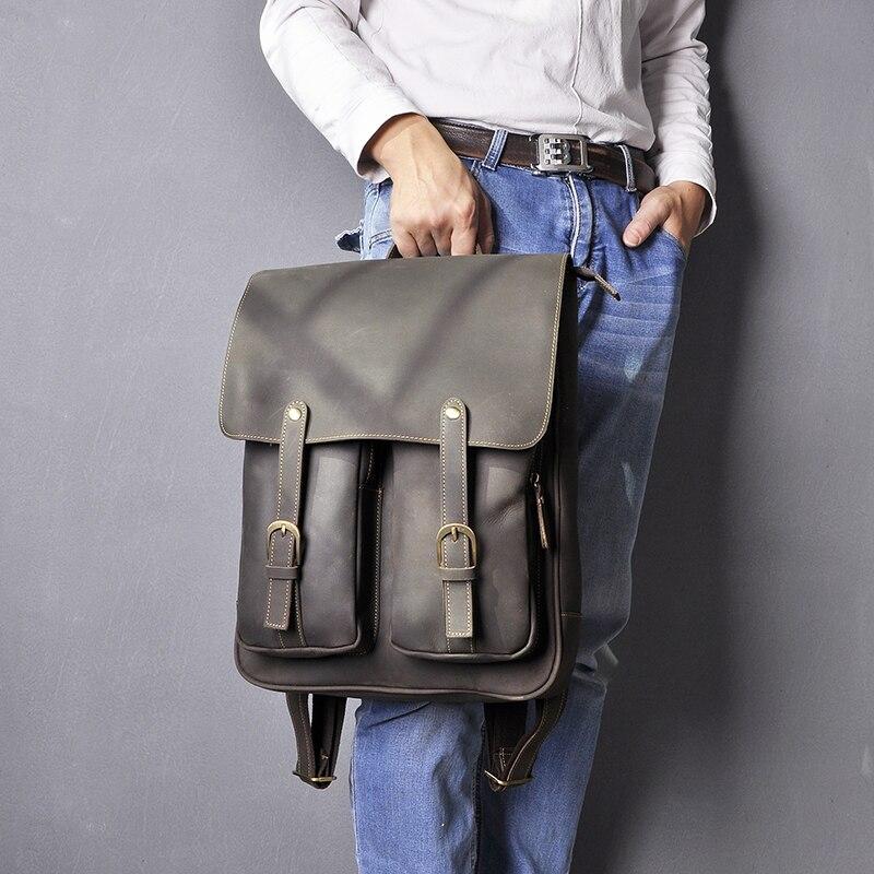 Кожаный мужской рюкзак BOSTANTEN, большие дорожные рюкзаки, школьный бизнес рюкзак 13 14 15 дюймов, рюкзак для ноутбука, сумка для компьютера с защи... - 4