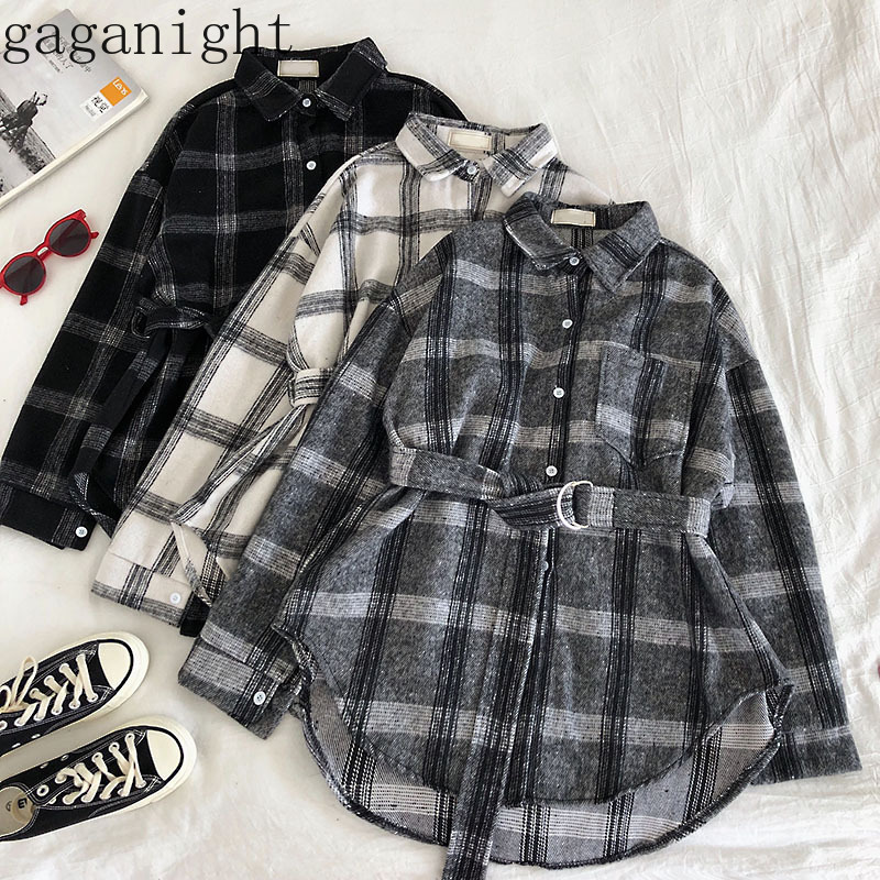 Gaganight Vintage Plaid Women Blouses Spring Autumn New Fashion Causal Loose Shirt Female Thick Outwear Blusas With Belt Chic