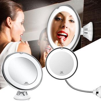 Lustro do makijażu z oświetleniem Led 10X powiększające lusterko kosmetyczne z podświetleniem LED lustro do makijażu elastyczne z przyssawką naścienne lustro kosmetyczne przybory do makijażu tanie i dobre opinie BU-Bauty Wyposażone CN (pochodzenie) Lusterko do makijażu 10X Magnifying Makeup Mirror with Sucker Wall-mounted
