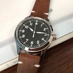 Image 2 - 42mm mens אוטומטי שעון לבן סימן עור עצמי Winding ספורט זכר שעון ספיר חיוג סטרילי SS מכאני שעוני יד