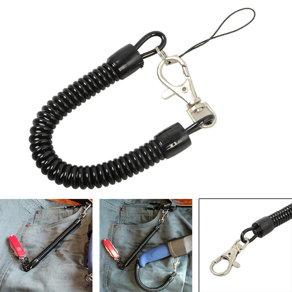 High Quality Spring Elastic Rope Security Retractable Plastic Gear Tool For Airsoft Outdoor Hiking Anti-lost Phone Keychain