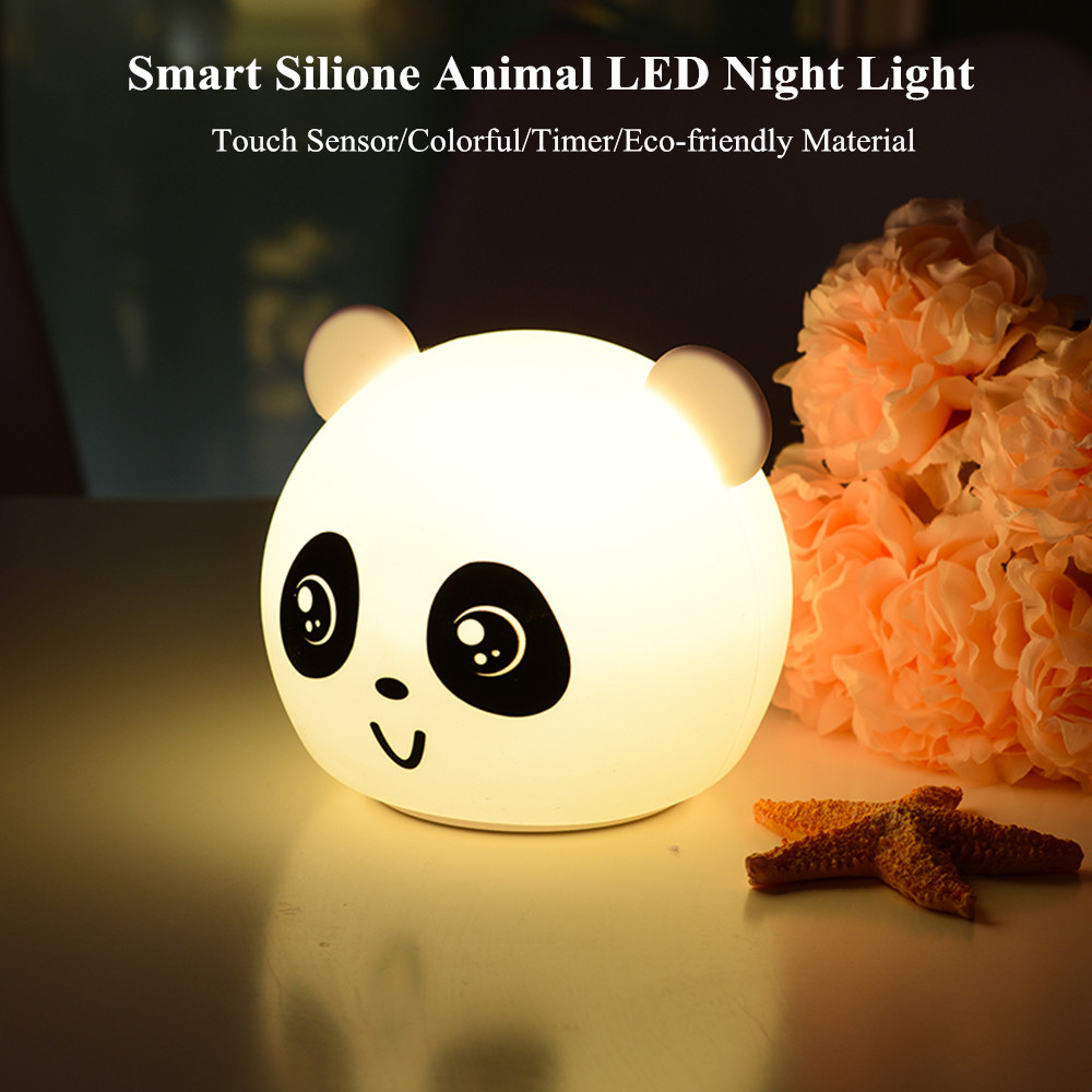 Bear Cat Dog Pig Panda LED Night Light Touch Sensor Colorful Timer USB Rechargeable Silicone Lamp