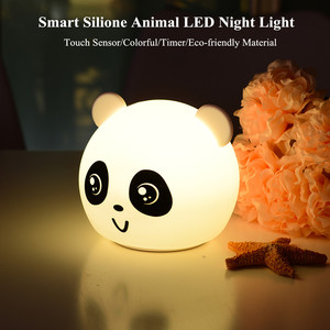 Bear Cat Dog Pig Panda LED Night Light Touch Sensor Colorful Timer USB Rechargeable Silicone Lamp for Children Kids Baby Gift(China)