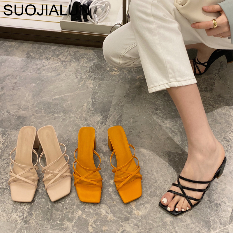 SUOJIALUN Fashion Narrow Band Women Slipper Ladies Elegant High Heels Sandal Summer Outdoor Open Toe Slides Pumps