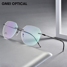 Ultralight Lega di Titanio Senza Orlo Degli Uomini Occhiali Cornice di Piazza Occhiali Da Vista Miopia Montature Da Vista Per Le Donne Occhio di Vetro Ottico