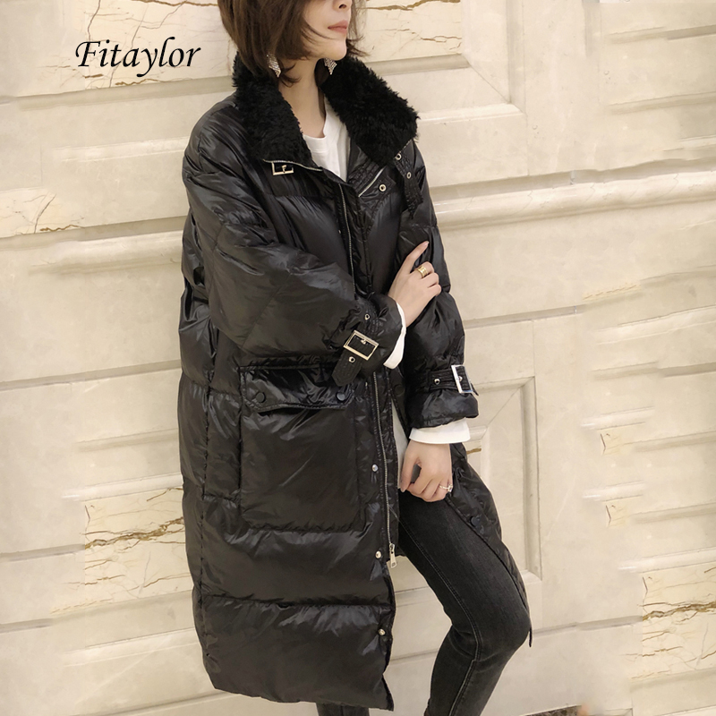 Fitaylor Winter 90% White Duck Down Parka Women Lamb Fur Turndown Collar Long Down Jackets Loose Street Thick Bread Outerwear
