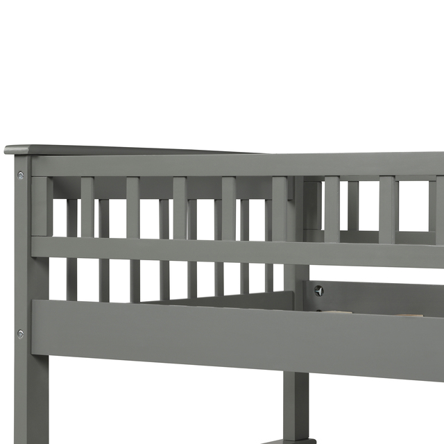 Twin Over Full Kids Bunk Beds with Slide Shelves  6