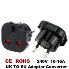 Adaptadores de alta qualidade para viagem, adaptador de tomada ac para ue 240v, plugue conversor preto