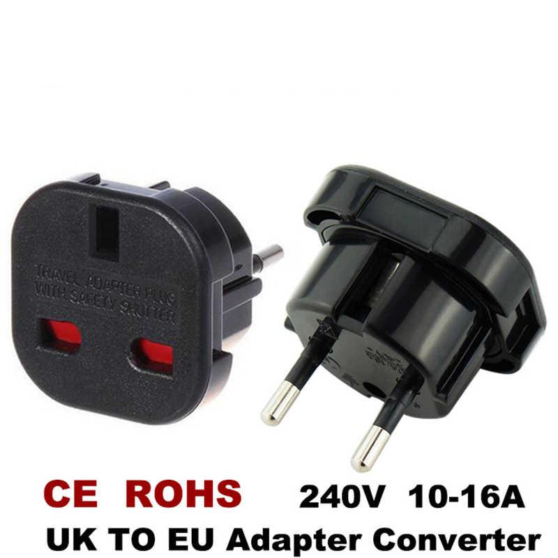 Новинка, дорожные адаптеры для великобритании и Европы на 240 в, высококачественный адаптер для зарядного устройства переменного тока с европейской вилкой, черная розетка-преобразователь Mayitr