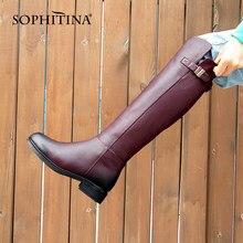 Женские сапоги на квадратном каблуке SOPHITINA, теплые удобные сапоги до колена, натуральная кожа, с круглым носком, шерсть, PC398