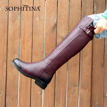 Women's Boots Heel-Shoes Comfortable Knee-High SOPHITINA Genuine-Leather Warm Toe Square