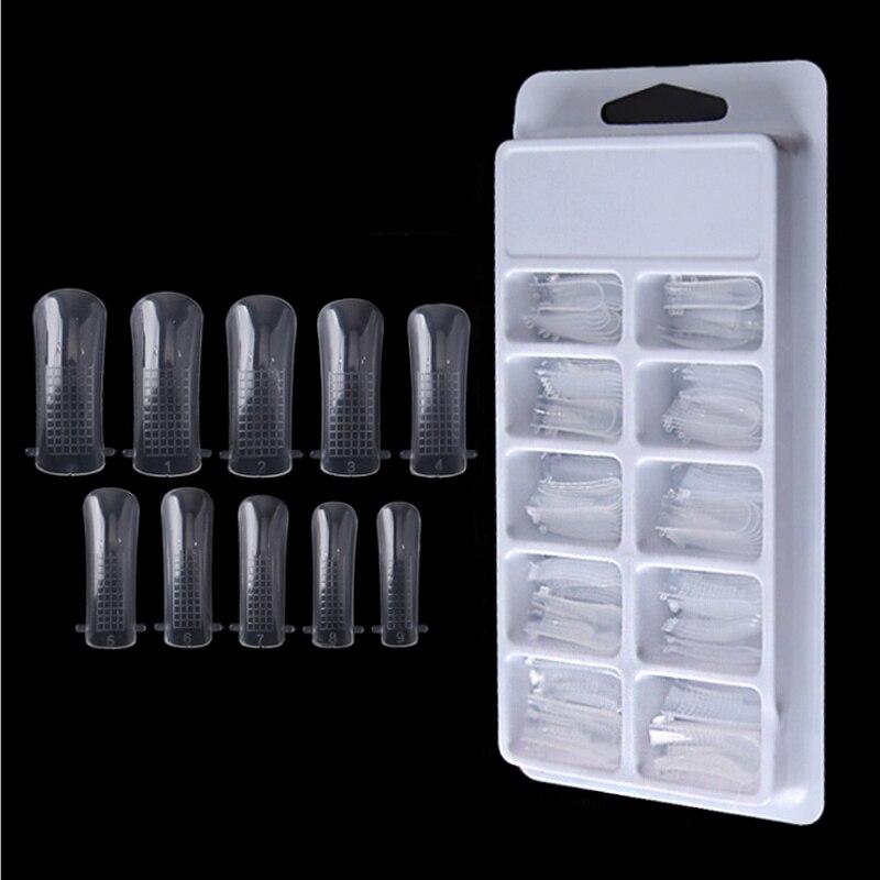 100 шт./кор. Прозрачная форма для ногтей, строительные Типсы, двойная форма для ногтей, накладные ногти для наращивания пальцев, зажим для мани...