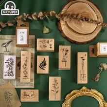 Г-н бумаги 8 дизайнов травяной зеленый деревянные штампы альбомы для DIY скрапбукинг печать деко ремесло канцелярские дома стандартный