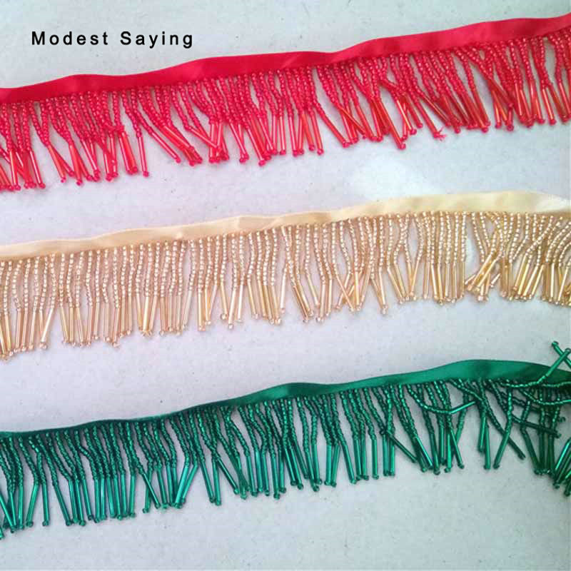 5 Yards 4cm Beaded Fringe Trim Ribbon Sewing Tassel Fringe Trimming Latin Dresses Evening Party Prom Gowns Garment Accessories