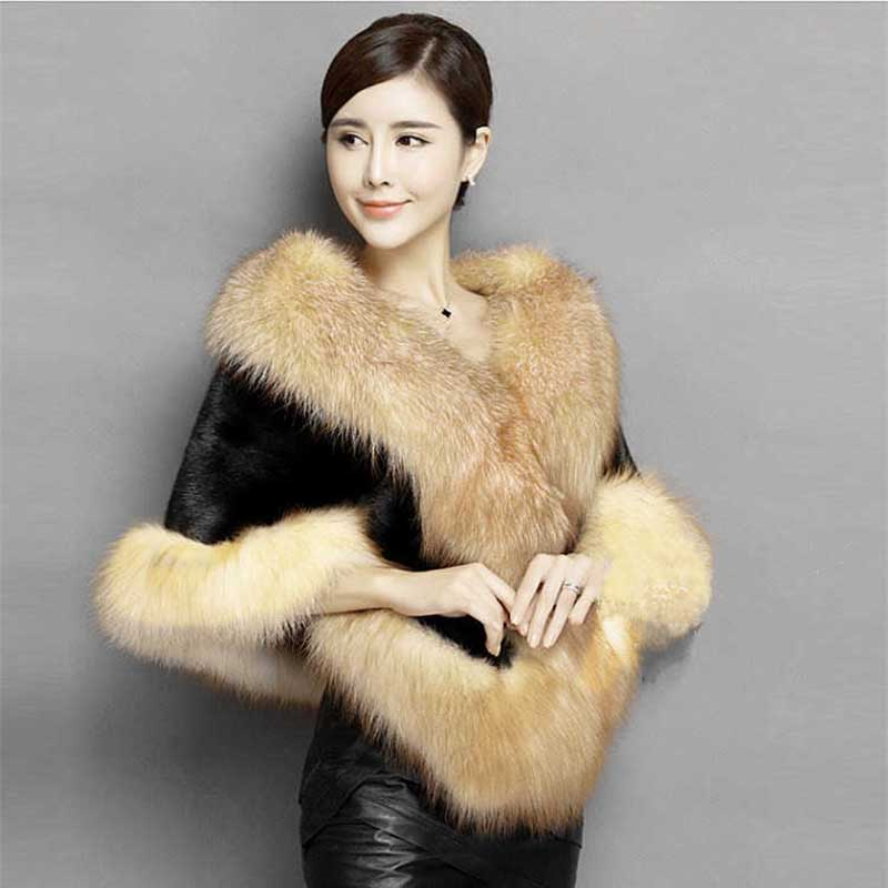 Luxury Women Ladies Winter Faux Mink Fur Cape Shawl Faux Fur Wedding Party Bride Wedding Dress Cape Warm Coat  Wraps