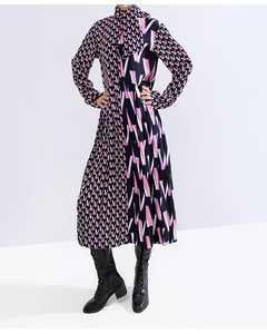 Image 5 - [EAM] Women Pattern Print Split Temperament  Dress New Bow Collar Long Sleeve Loose Fit Fashion Tide Spring Autumn 2020 19A a872