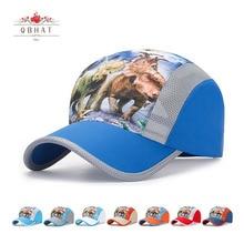 Cap Boys Baseball-Caps Printing Dinosaur Breathable Sport Children Cartoon Summer QBHAT