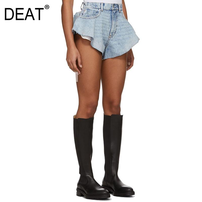 DEAT 2020 New Summer Fashion Mesh Clothing Light Blue Denim Washed Pockets Zippers Shorts Female Bottoms WL38605L