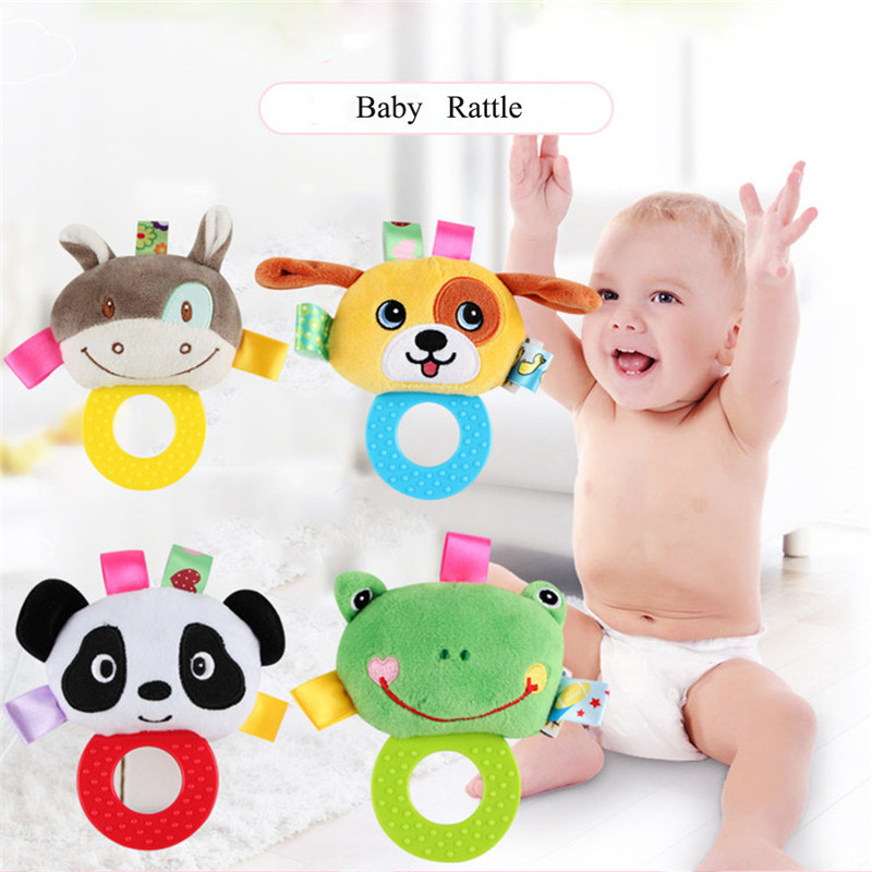 Cute Cartoon Animal Newborn Rattles Toy Hand Bell Toddler Infant Rings Interactive Plush Toys Baby Early Education Gift