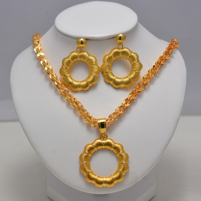 Dubai Jewelry Flower Sets for Women Gold Color Ethiopian Pendant Necklaces Earrings Middle Eastern Arab African Wedding Jewelry