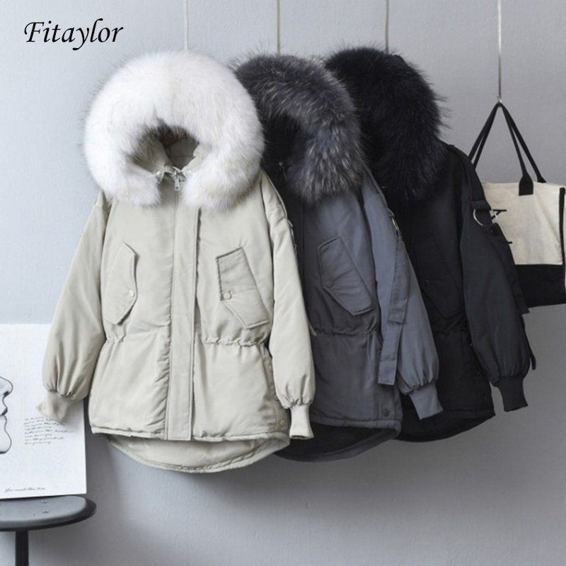 Fitaylor New Winter Large Real Raccoon Fur Parkas Women Down Jackets Warm Outwear Coats Female Hooded White Duck Down Jacket