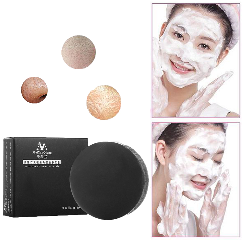 40g Activated Charcoal Whitening Soap Handmade Soap Face Skin Care Bamboo Soap Remove Blackhead Oil Control Sea Salt Soap Savon