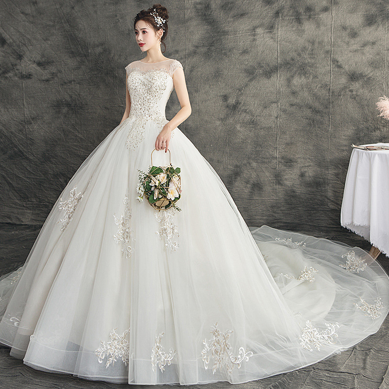 Vestido Branco Bridal Go Out Dress 2020 New Dreamlike Temperament Show Thin And Luxuriant Tail Pack Shoulder Wedding Female
