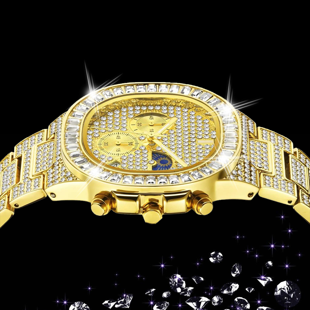 MISSFOX Man luxury Watch Gold Ice Out Full Diamond Square Wristwatches Double Dial Chronograph Waterproof Watches Mens 2020 dropshipping New auto r phase (16)