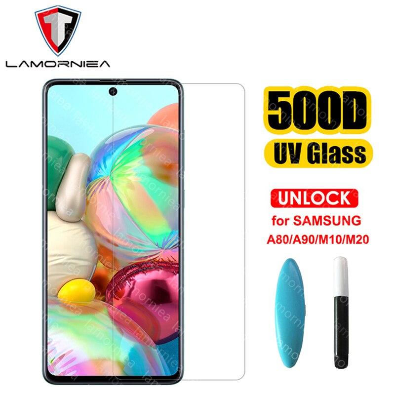 Жидкое УФ-стекло 100D для Samsung Galaxy A51, A71, A50, A30, A20, A70, A80, A90, A10, M10, M20, M30, защитная пленка с УФ-подсветкой