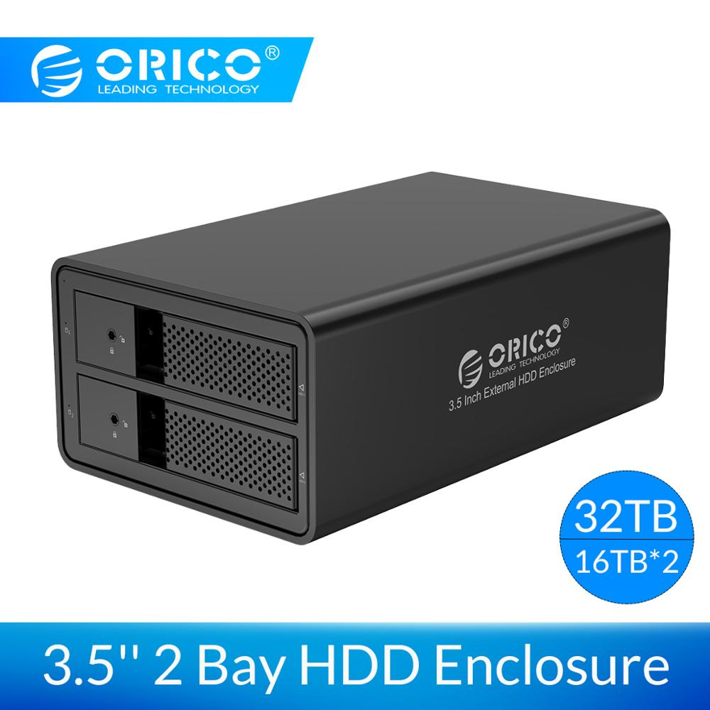 ORICO 3.5'' HDD Docking Station 2 Bay Support 32TB Aluminum USB3.0 To SATA HDD Enclosure 78W External Power Adapter HDD Case