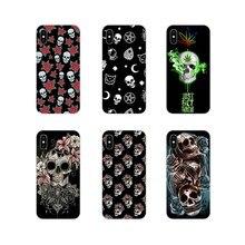 Esqueleto crânio Preto Para Samsung A10 A30 A40 A50 A60 A70 M30 Galaxy Note 2 3 4 5 8 9 10 PLUS Acessórios Phone Cases Covers