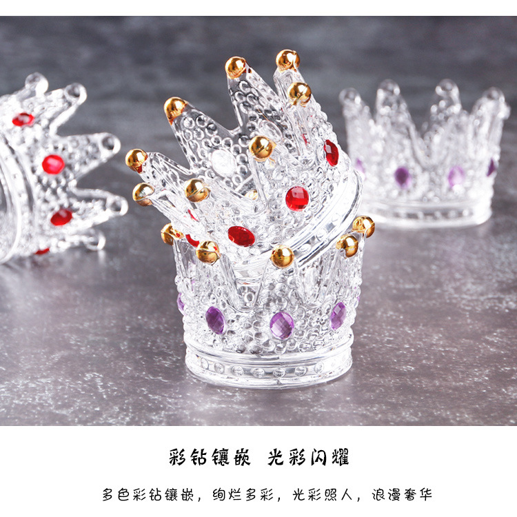 multifunctonal crown shaped crystal glass tealight candle holder(China)