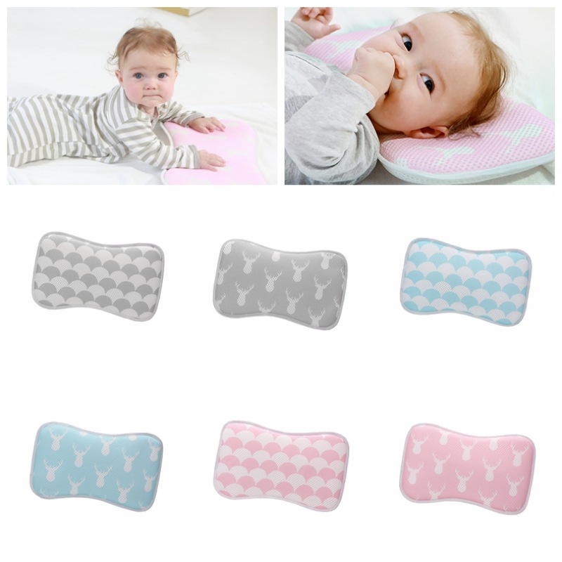 All Season Infant Baby Boys Girls Breathable Washable Anti Flat Head Baby 3D Pillow 3D Mesh Fabric Head Shaping Sleeping Pillow