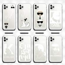 Lagerfeld marca designer karls telefone caso claro para iphone 12 pro max mini 11 pro xs max 8 7 6s plus x 5S se 2020 xr capa