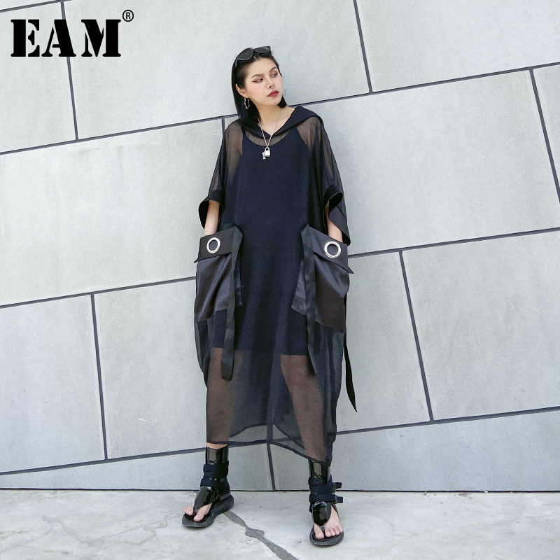 [EAM] Women Black Mesh Perspective Big Size Dress New Hooded Three-quarter Sleeve Loose Fit Fashion Spring Summer 2020 1U082