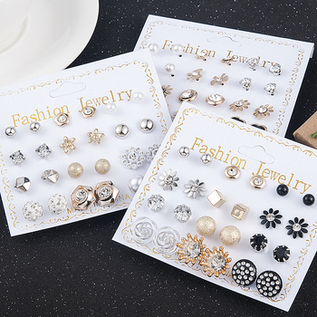 12 Pairs/Set Women's Pearl Flower Crystal Mix Design Studs Earrings Girls Elegant Gold Heart Ear Jewelry Gift Aretes De - discount item  25% OFF Fashion Jewelry