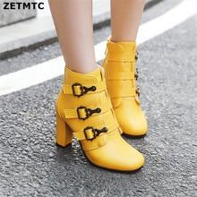 إمرأة حذاء من الجلد عالية الكعب الأحذية سستة جولة تو الشتاء السيدات أحذية بيضاء صفراء أحذية سوداء برقبة امرأة 2019 جديد
