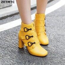 Damskie botki wysokie buty na obcasie zamek okrągłe Toe zimowe damskie buty białe żółte czarne buty kobieta 2019 nowe buty