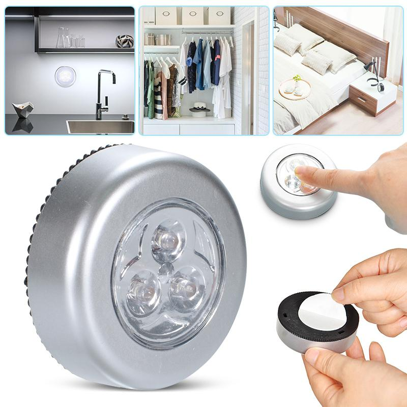 4 LED Wireless Night Light Touch Control Wardrobe Drawer Lamp  Self-adhesive Cordless Stick Round Lamp Under Cabinet Closet Home