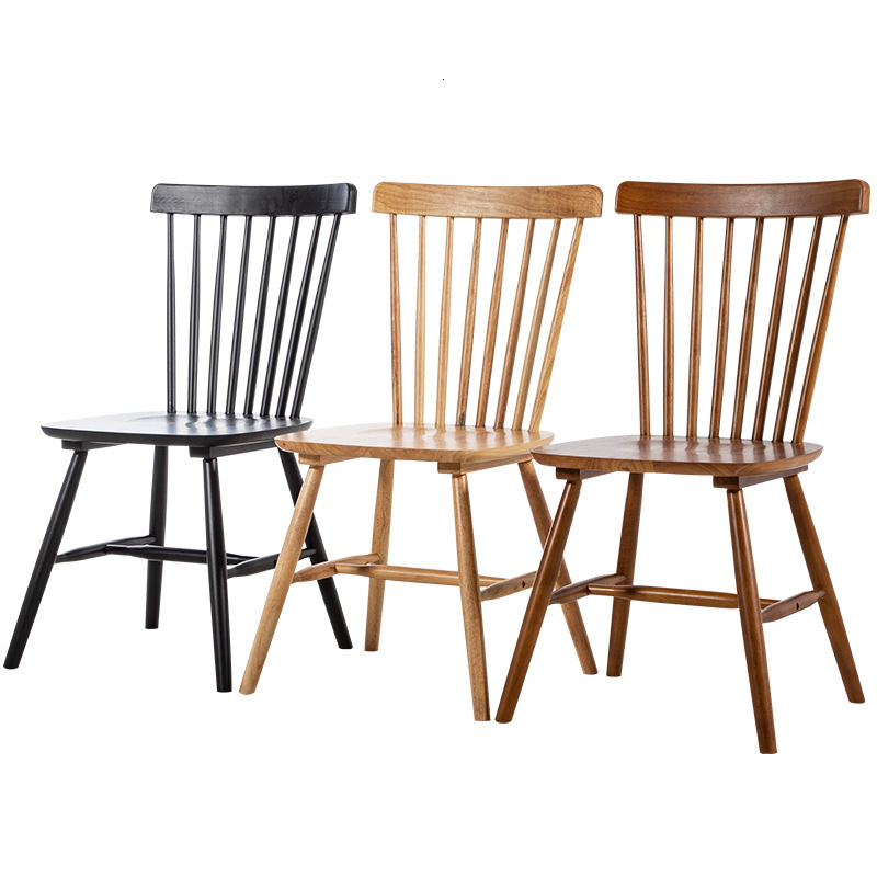 Solid wood dining chair  hotel restaurant milk tea shop backrest chair northern Europe simple leisure dessert table and chair