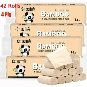 42 Rolls Natural Bamboo Pulp Toilet Paper Household Soft Bathroom Tissue 4 Layers Home Kitchen Office Roll Paper Large Pack