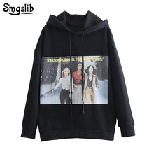 2019 new fashion hooded pullover knitted Drop-shoulder oversized hoodie casual black sweatshirts  streetwear character pullovers недорого