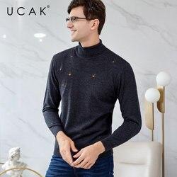 UCAK Brand Merino Wollen Trui Mannen Herfst Winter Warm Coltrui Kasjmier Trui Mannen Streetwear Mode Jong Pull Homme U3049