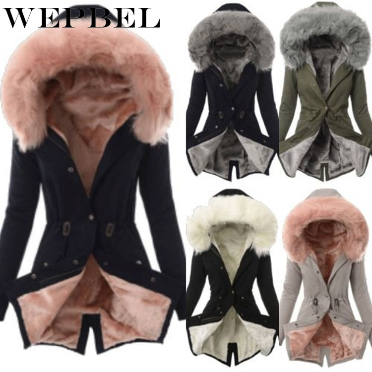 WEPBEL Winter Women's Cotton Padded Removable Fur Collar Hooded Coat Female Casual Camouflage Print   Parka   Military Hooded Coat
