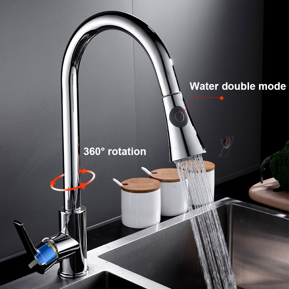 Hot And Cold Modern Mixer Brass Water Kitchen Faucet Single Handle Durable Practical Adjustable Sink Tap Home Spout Pull Out