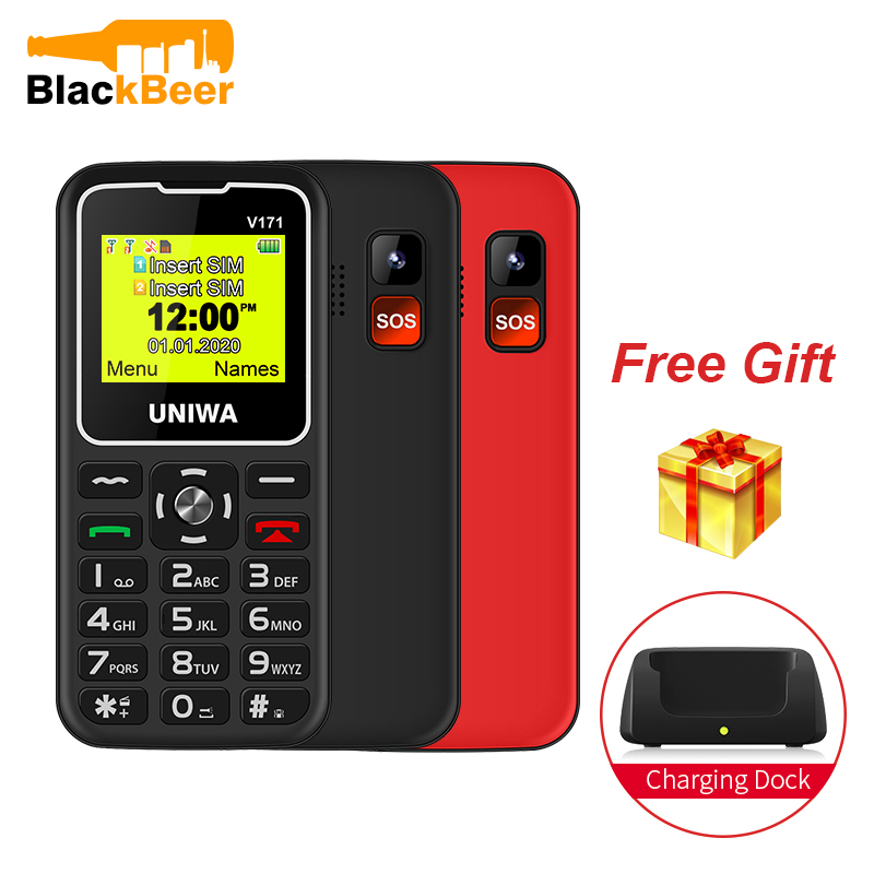 "UNIWA V171 1.77"" 2G GMS Feature Phone Wireless FM Senior MobilePhone 1000mAh For Elderly People Cellphone Free Charging Dock SOS"