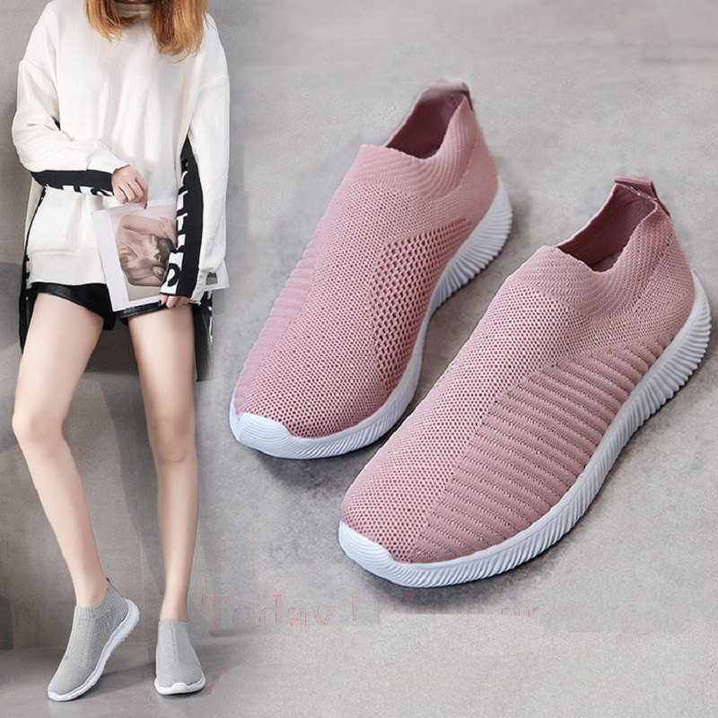 Women Casual Shoes Light Sneakers Breathable Mesh Summer knitted Vulcanized Shoes Outdoor Slip-On Sock Shoes Plus Size Tennis 1