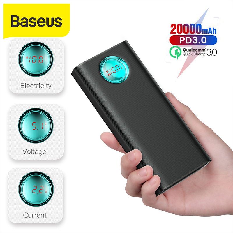 Baseus 20000mAh Power Bank 18W PD3.0 + QC3.0 Fast Charger For Xiaomi Huawei iPhone X Portable Outdoor Charger Travel Power bank|Power Bank| |  - title=